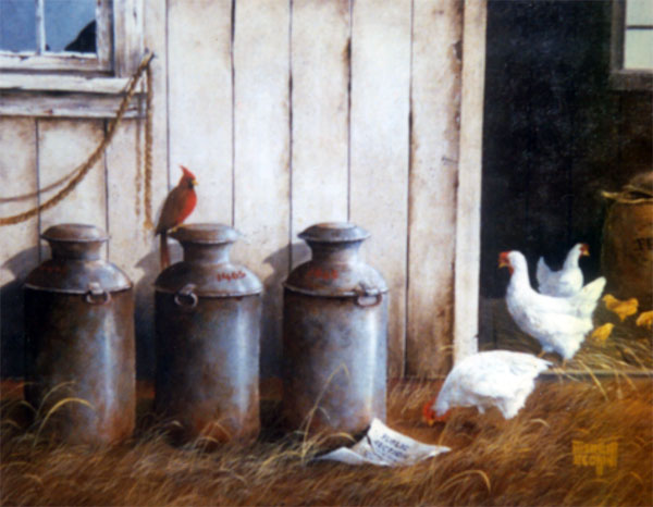 Merrill Coffin Cardinal and Chicken Painting