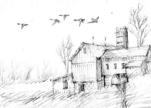 Merrill Coffin Barn Sketch