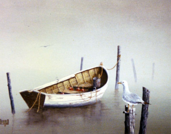 Merrill Coffin Seascape The white boat