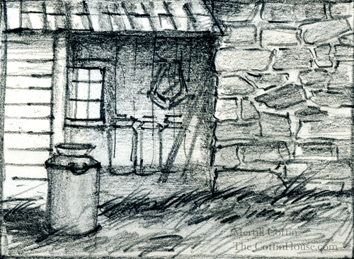 Sketch of milk cans and a barn