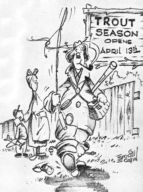 Merrill Coffin Cartoon Welcoming Trout Season