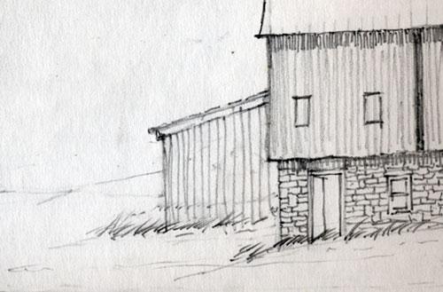 Barn Sketch of Merrill Coffin