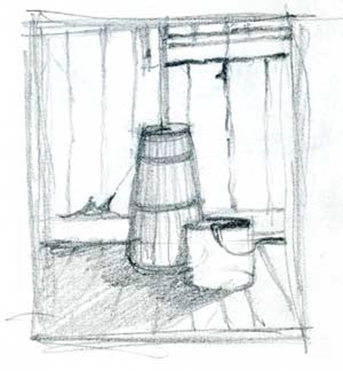 Sketch of a butter churn
