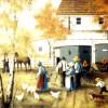 Amish Feeding Chickens