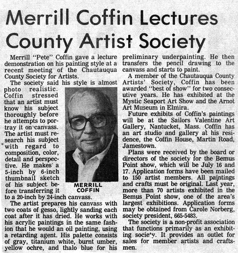 Merrill Coffin Lectures County Artist Society